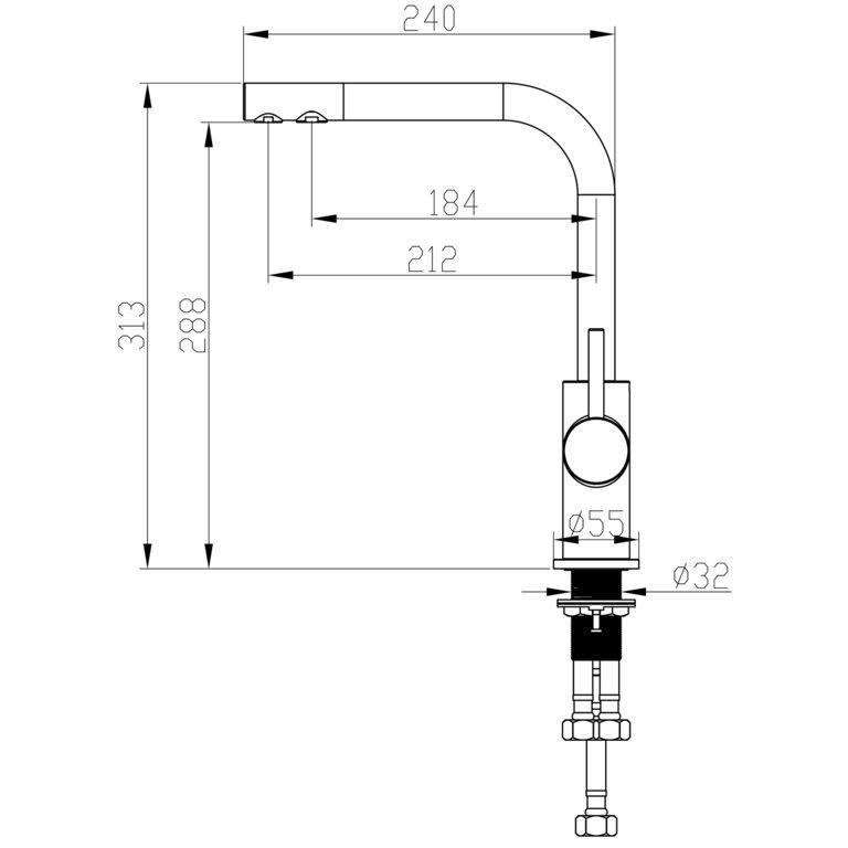 3 wege niederdruckarmatur dakota nd chrom wasserhaus. Black Bedroom Furniture Sets. Home Design Ideas